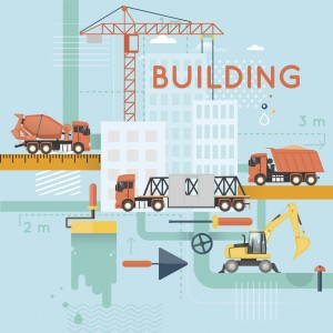Construction. Building a house, repair work. Real estate. Flat icons vector illustration.