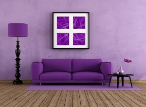 Grunge purple interior with modern sofa - rendering-the art picture on wall is a my composition