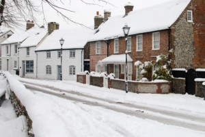 Snow on street in Broadwater. Worthing. Sussex. England