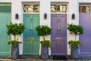 Colored doors in an alley of London